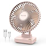Funme USB Desk Table Fan 2021 Updated 6 inch Desktop Small Personal Fans, Strong Airflow 3 Speeds Ultra-Quiet, Electric Cooling Fan for Home Bedside Table Office Bedroom, 90° Adjustment, Pink