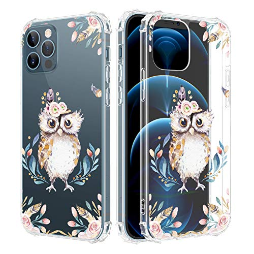 Caka Case for iPhone 12 iPhone 12 Pro Case Clear with Design for Girls Women, Flowers Clear Floral Pattern Girly Soft TPU Transparent Protective Case for iPhone 12 iPhone 12 Pro 6.1 inches (Owl)