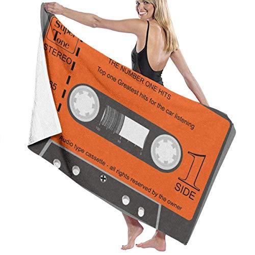 Ewtretr Toalla de Playa Audio Type Cassette Adult Microfiber Beach Towel Large 31x51 Inch Quick-Drying Eco-Friendly Multipurpose Use Beach Blanket for Women Men Hotel Home Ideas Decoration