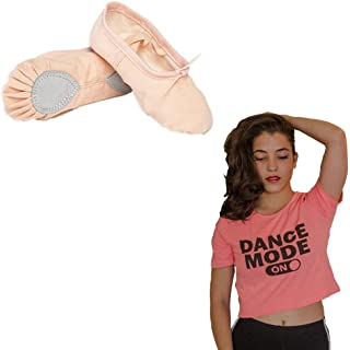 Dance Combo Pack - The Dance Bible Unisex Professional Beige Ballet Canvas Shoes + Dance Mode On Crop Top for Women | Dance Wear | Shoes for Dance Class | Clothes for Dance Lovers