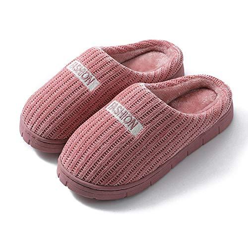 B/H Pantunflas Invierno,Zapatos de algodón térmico de Suela Gruesa, Zapatos de casa de Felpa Antideslizantes-Cuero Violeta_42-43,Slippers Suave