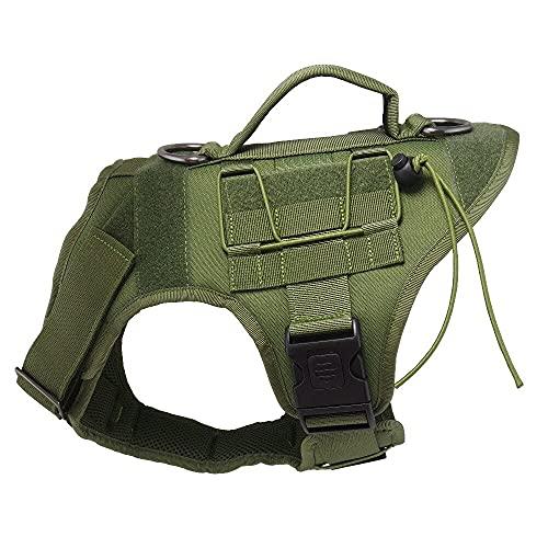 KIFFAY Arnés táctico de Chaleco de Perros - Militar K9 Capacitación de Perro Chaleco - Arnés de Perro de Trabajo para tamaños de Perros Medio, Grande y XL(Verde,XS)