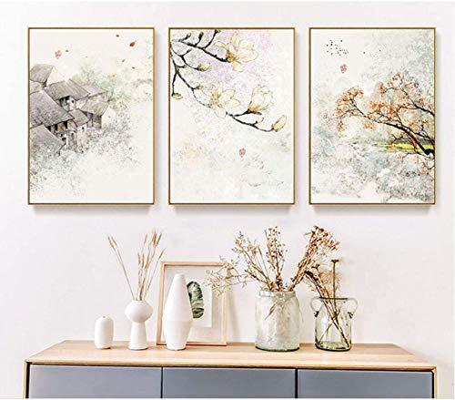 Canvas Art Schilderij Nieuwe Chinese Inkt Bloemen Abstracte Muur Kunstdruk Afbeelding Canvas Schilderij Poster Woonkamer…