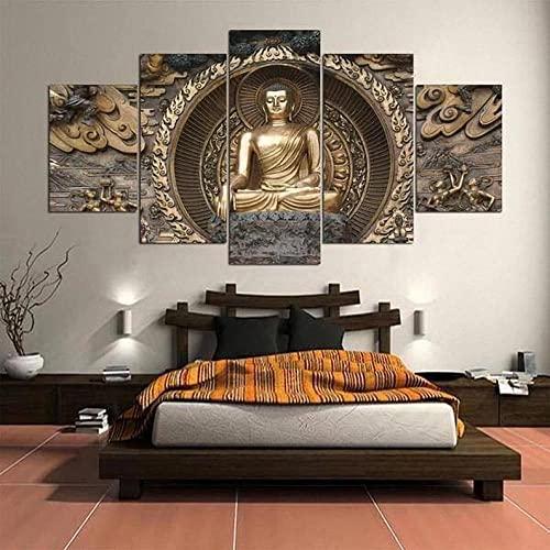 5 Leinwandbilder Wohnkultur Bilder Leinwand Wandkunst 5 Stücke Gemälde Poster RahmenBuddhismus buddhistischer Zen Modern Wand Aufhängen Gemälde für Wohnzimmer Wohnkultur Kreatives Geschenk