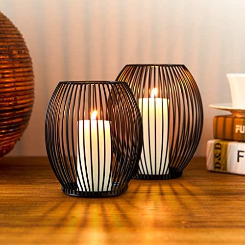 Lanterna Porta Candele Bochee Set di 2 ( Medio & Piccolo ), Lanterne Portacandele da Esterno Candelabro Moderno Nero per la Decorazione di Tavoli del Soggiorno della Casa, Matrimonio Natale Cena
