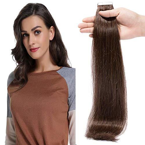 Extension Adhesive Cheveux Naturel 20 Pcs 40g - Rajout Vrai Cheveux Humain Lisse à Bande Adhesive (#02 Brun, 35 cm)