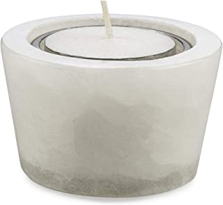 Boho Traders Round Tealight Holder with Wax, White