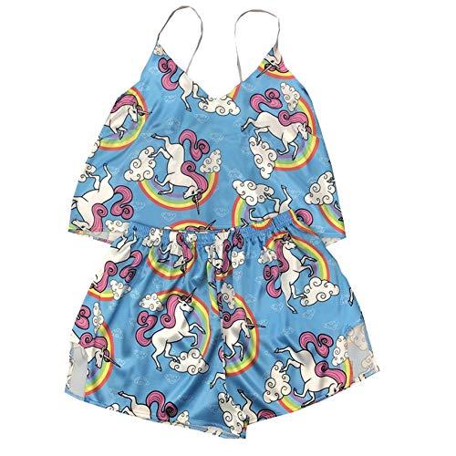 WAEKQIANG Sexy UnterwäSche Damen Pyjamas Damen Homewear Pyjamas Satin Cute Bestickte Cartoon Bedruckte Pyjamas Mit V-Ausschnitt Shorts Set