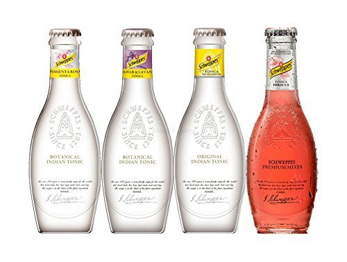 Schweppes Premium Mixers Set - Tonic Water + Orange Blossom Lavendel Tonic + Pink Pepper Tonic + Hibiscus Tonic - je 200ml inkl. Pfand MEHRWEG
