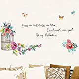 artaslf Jaula de pájaros creativa PVC pegatina de pared minimalista calcomanías de flores sala de estar sofá TV Fondo decoración de pared pegatinas 60x90cm