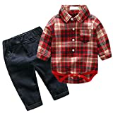 Baby Boy's Casual Long Sleeve Christmas Romper Shirt Clothing Set Red Plaid Top Corduroy Pants 18-24M