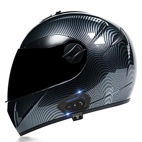 TFEL Casco Moto Bluetooth Integrado,Lentes HD Cascos integrales Casco de Motocicleta MTB Manténgase abrigado en Invierno para protección Unisex para Adultos Certificación ECE,b,M