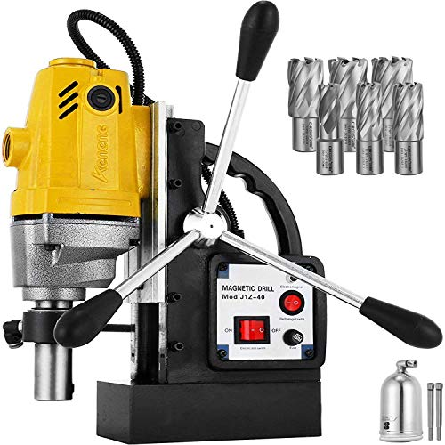 Mophorn 1100W Magnetic Drill Press with 1-1/2 Inch (40mm) Boring Diameter MD40 Magnetic Drill Press Machine 2810 LBS Magnetic Force Magnetic Drilling System 670 RPM with 6 Pcs HSS Annular Cutter Kit
