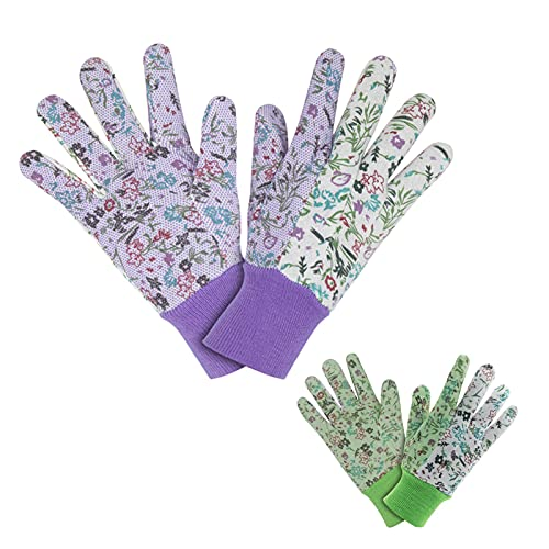 Nizirioo 2 Paar Gartenhandschuhe für Damen, Arbeitshandschuhe Garten, Antirutschbeschichtung Arbeitshandschuhe mit PVC-Punkten, Wasserdichte Handschuhe für Dornen und Hecken(Lila, Grün)