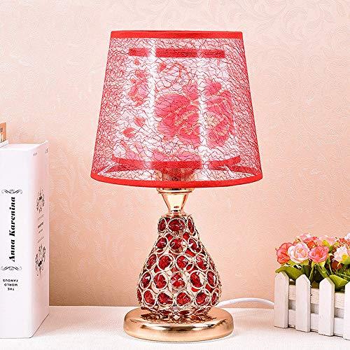 HtapsG Lámpara Escritorio Lámpara Dormitorio Cristal lámpara Sala de Noche lámpara de Cama lámpara de Mesa cambiante lámpara lámpara de Mesa led Caliente (Color : Red)