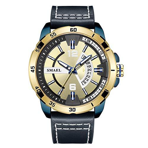 JTTM Reloj De Hombre Cronógrafo Analógico De Cuarzo Reloj De Pulsera Impermeable para Negocios con Correa De Cuero,Azul