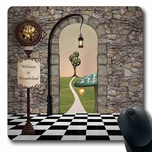 Onete Alice im Wunderland Mousepad Oblong Alice im Wunderland Willkommen Schwarz Weiß Boden Landschaft Pilz Laterne Grün Rutschfest Gummi Mauspad Büro Computer Laptop