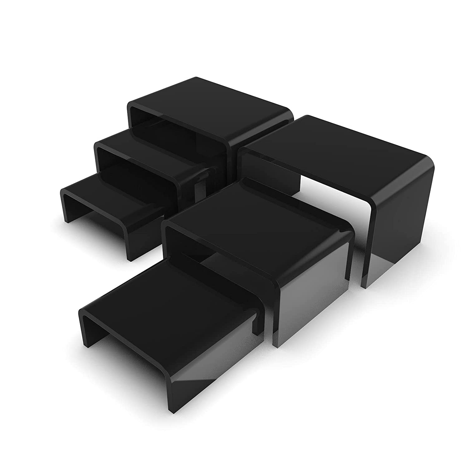 6 Piece Black Acrylic Risers | Black Display Stand for Jewelry, Food and Collectibles | Action Figurine Shelf Display | Black Tiered Display Stand