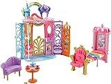 Barbie Mobilier Château Dreamtopia Arc-en-Ciel, Maison de Poupée à Emporter, 4 Espaces, Chien Honey et 15 Accessoires Inclus, Jouet pour enfant, FTV98