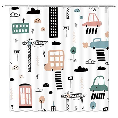 Rideau de douche imperméable et résistant à la moisissure avec 12 crochets rideau de douche de bande dessinée pour la décoration de la maison des enfants rideaux de salle de bain garçons A7 90x180cm