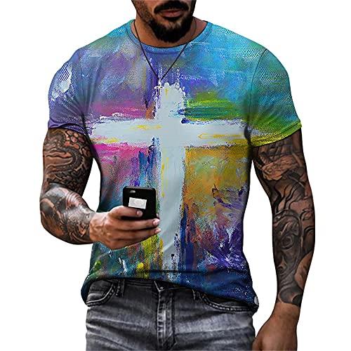Deportiva Camisa Hombre Verano Creativa Novedad Estampado Hombre Musculosa Shirt Básico Estiramiento Cuello Redondo Manga Corta Funcional Shirt Casual Secado Rápido Hombre T-Shirt TTA7-63 XS