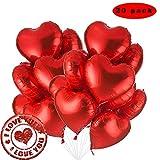 Sunshine smile Globos De Aluminio,Globos Metalicos.Globos de Oro del corazón,para el día de San Valentín, cumpleaños, Baby Shower, decoración del Partido (Rojo)