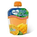 Mellin, Pouch Merenda Frutta 100% Mango E Arancia Con Carota - 6 Confezioni Da 90 Gr...
