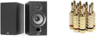 Best ELAC Debut 2.0 B6.2 Bookshelf Speakers, Black (Pair) & Monoprice Gold Plated Speaker Banana Plugs – 5 Pairs – Closed Screw Type, for Speaker Wire, Home Theater, Wall Plates and More Reviews