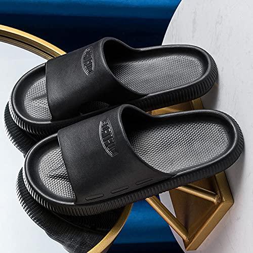 Massage Sandalen Hausschuhe für Frauen Männer Schnelltrocknend, Eva Open Toe Weiche Schuhe, Dusche Spa Bad Pool Sandalen Für Indoor Outdoor schwarz EU43-44