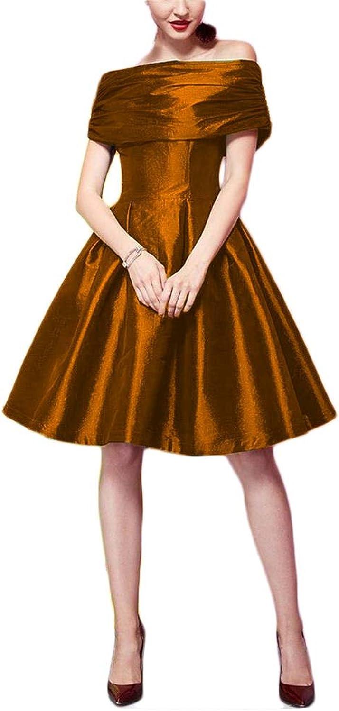 FTBY Women's Off The Shoulder Pleats Zipper Satin Short Aline Prom Homecoming Dresses Maxi Dresses 163