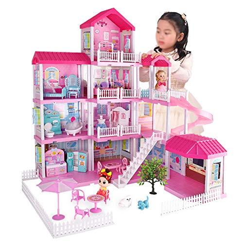 Wohnausstattung Puppenhausmodell Princess House Spielhaus Spielzeughausmodell Puppenhaus 3D Puzzle für Kinder Kindergeburtstagsgeschenke Dekoratives Miniaturpuppenhausmodell (Farbe: Pink Größe: Dre