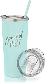 SassyCups You Got This Tumbler | 22 Ounce Engraved Mint Stainless Steel Insulated Tumbler with Lid and Straw | New Job Promotion for Coworker | Going Away | Congratulations | Moving Away | Graduation