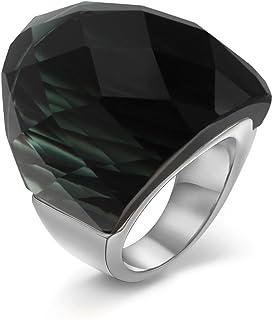 خاتم من الفولاذ المقاوم للصدأ عصري للسيدات والرجال من VNOX - مقاس 7