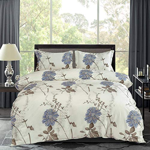 RUIKASI Duvet Cover Set SuperKing Size Botanical Flowers Pattern Printed 3 PCS Soft Silky Microfiber Duvet Cover (260 x 220cm) with 2 Pillowcases, Easy Care Quilt Bedding Sets with Zipper Closure