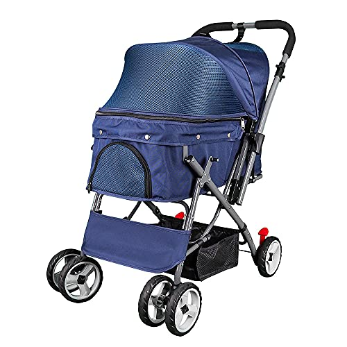 Noodoky Pet Stroller for Cats Dogs Rabbit with Reversible Handle, Dog Stroller for Small or Medium Animal up to 40 Pounds, Doggie Bunny Stroller Carriage (Blue)