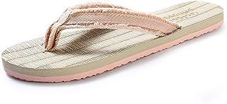 Women's Flip-Flops, Lightweight Toe Post Platform Non-Slip Slippers, Comfortable Summer Sandals for Beach Holidays, Pool Size 35-38 (Black)