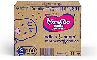 MamyPoko Pants Extra Absorb Baby Diaper Box, Small (168 Count)