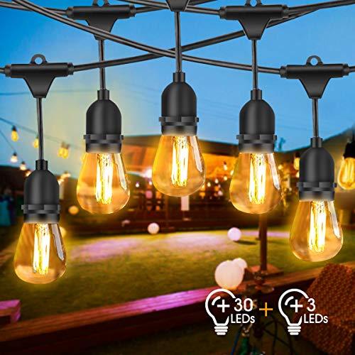 Lichterkette Außen, FOCHEA LED Lichterkette Glühbirnen 30M IP65 Wasserdicht Lichterkette Garten mit 33 x 2W LED-Glühbirnen für Hochzeit Party Innen Aussen Dekoration