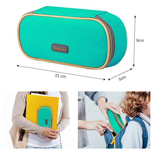 Homecube Pencil Case Big Capacity Pencil Bag Makeup Pen Pouch Durable Students Stationery with Double Zipper Pen Holder for School/Office, Green Photo #4