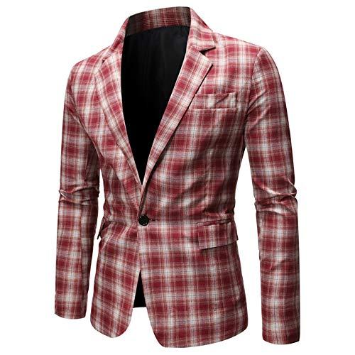 Blazer de Lino de algodón a Cuadros para Hombre, Traje de Chaqueta de Corte Entallado Informal con un botón, Esmoquin