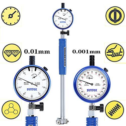 BIKEULTIMATE Reloj de medición Diámetro Interior del Cilindro de medición 18-35-50-160-250mm indicador micrómetro Cilindro de Calibre 0,01 mm,35~50mm(0.01mm)