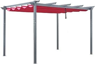 ALEKO Aluminum Outdoor Retractable Canopy Pergola - 13 x 10 Ft - Burgundy Color