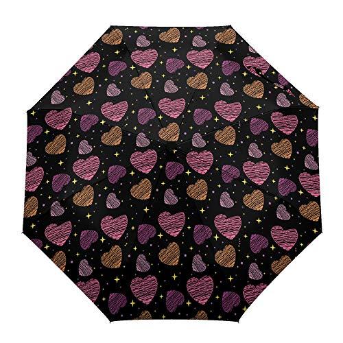 Faltbarer Reise-Regenschirm, Valentinstags-Wachsmalstift, Liebe auf schwarzem Hintergrund, automatisches Öffnen/Schließen, kompakter, winddichter Regenschirm für Mädchen/Frauen/Erwachsene