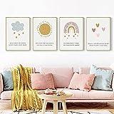 Impresión de lienzo Simple nórdico dibujos animados amor nube de sol arco iris habitación de los niños decoración del hogar lienzo impreso comedor 60x90cmx4 Sin marco