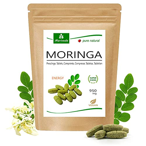 MoriVeda® Moringa Energy Tabletten 950mg, 120 St. I Moringa hochdosiert, mit Vitaminen, Proteinen & Aminosäuren in Ayurveda Spitzen-Qualität I Vegan & Glutenfrei I 120 Tabs.