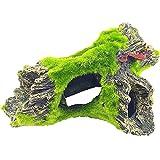 NO Acuario Decoración,Decoración de la Cueva Acuario de La con La Hierba Verde de Los Resina Hueco Árbol Tronco Decoración, para Acuario, Pecera, Decoración Paisajística