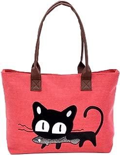 JJLIKER Women Printed Canvas Cartoon Cats Pattern Totes Shoulder Handbags Fashion Casual Work Shopping Large Bags
