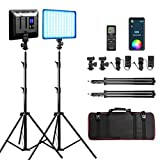 RGB LED Video Light, Photography Video Lighting kit with APP/Remote Control, 2 Packs Led Panel Light with Stand for Video Recording YouTube Studio CRI 95/ 2500K-8500K/ RGB Colors/ 29 Scenes