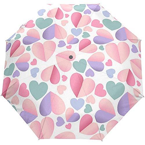Día de San Valentín Corazón Colorido Te Amo Primavera Verano Boda Auto Cerrar Sol Lluvia Paraguas