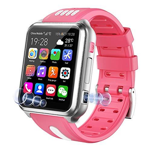 RNNTK con Scheda SD WiFi Doppia Fotocamera Orologio Telefonico per Android iOS,Videochiamata Bambini Orologio Intelligente, Rete 4g Android Smartwatch per Bambini Activity Tracker-Rosa 32 GB